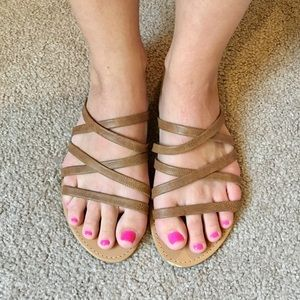 F21: Flat Strappy Brown Sandals, Size 9