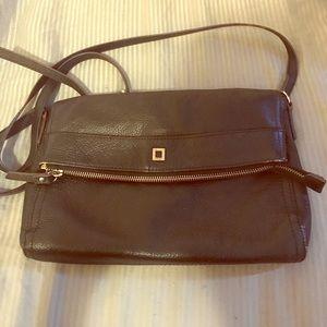 Leather cross-strap adjustable length purse