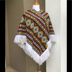 Colorful Ethnic Patterned Poncho