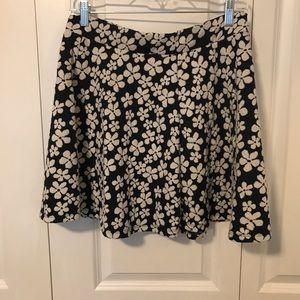 Navy flower-patterned skirt