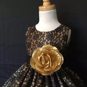 Other - Black lace golden dress size S 0-6 months and 2t