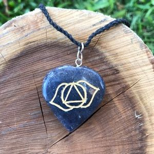 Third Eye Engraved Crystal Necklace •