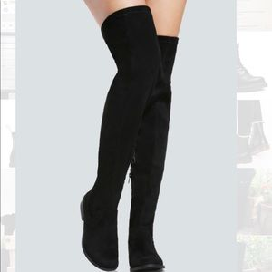 Over the knee faux suede boots in black