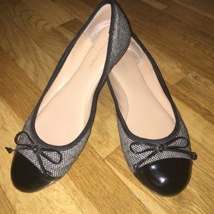 Banana Republic 9.5 patent tweed black/gray ballet