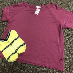 NEW WITH TAGS Victoria's Secret PINK tee and socks