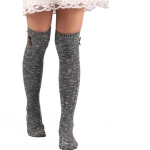 Accessories - Grey Gray Long Over The Knee Socks