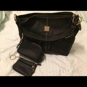Dooney & Burke Black Pebbled Leather Mary Bag