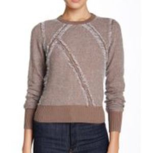 L.A.M.B. Clip Knit Crew Neck Sweater, Taupe/Ivory