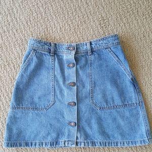 Zara Button Up Denim Mini Skirt