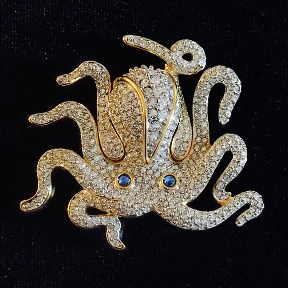 Swarovski Octopus Brooch