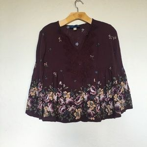 Bell Sleeve Burgundy Embroided Floral Top