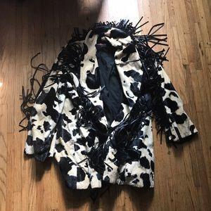Vintage cow print fake fur jacket