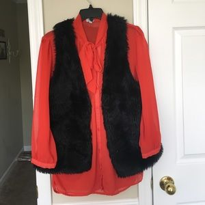 Sheer red bow collar Blouse!