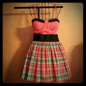 Pink and black plaid sundress