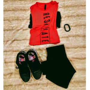 """EUC """"Rest Later"""" Cutoff Workout Tee"""