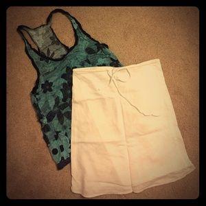 H&M white lined skirt cotton /linen blend size 6