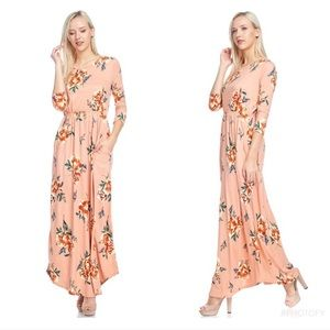 New Pink Floral Maxi Dress With Pockets