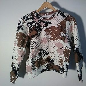 Rag and Bone Pink and Camo Crop Sweatshirt, XS