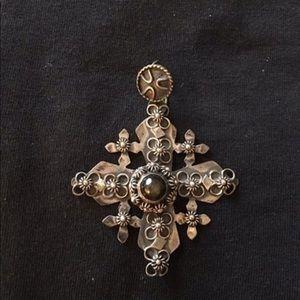 Jewelry - Antique Sterling Cross w/ Tigers Eye Pendant