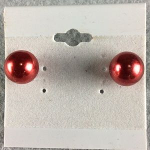 Jewelry - New Red Ball Stud Earrings