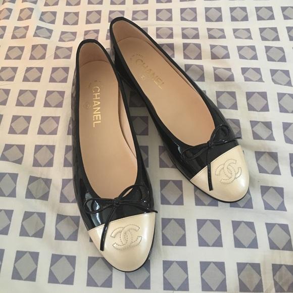 Black And White Chanel Ballerina Flats
