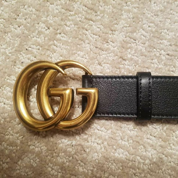 52e1738acfb Gucci leather belt with double G buckle.size 80
