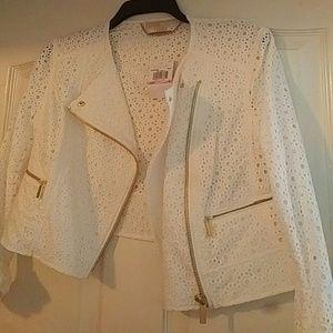Michael Kors white eyelet jacket