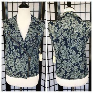 Forever21 Floral Blue Denim Zipper Jean Vest l