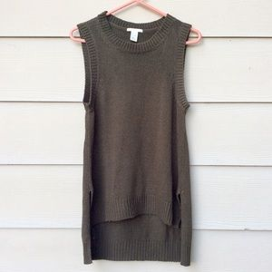 : H&M : Olive Green Sleeveless Sweater Top