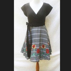 New Eshakti Mixed Media Fit &  Flare Dress 16W