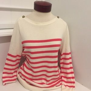 j.CREW SAILOR SWEATER PINK AND WHITE STRIPE COTTON