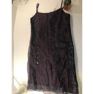 NWT DKNY Purple Sequin Dress-12 100% SILK