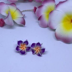 Jewelry - PURPLE FLOWER STUDS ( HANDMADE)