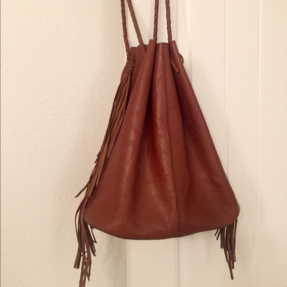 Topshop Handbags - TopShop authentic leather fringe bucket bag