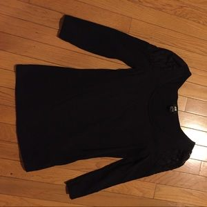 H&M Black Top with Laced sleeves small