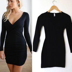 American Apparel Black Wrap Bodycon Mini Dress