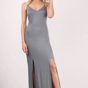 Gray Maxi with double slits