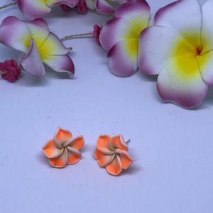 Jewelry - ORANGE FLOWER STUDS ( HANDMADE)