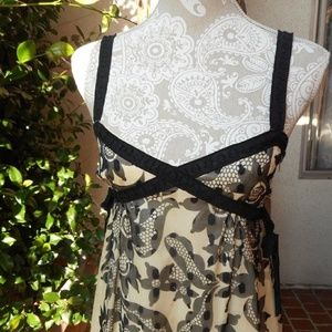 Anna Sui Black Cream Floral Lace Babydoll Dress 2