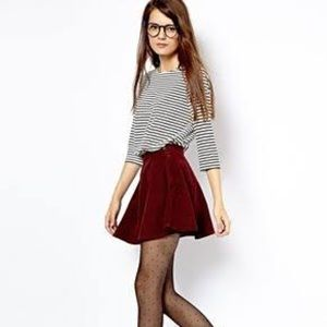 American apparel maroon corduroy circle skirt