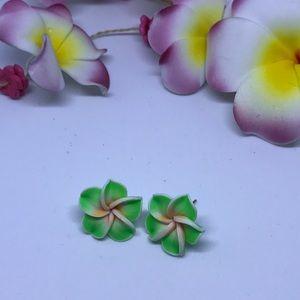Jewelry - LIME GREEN FLOWER STUDS ( HANDMADE)
