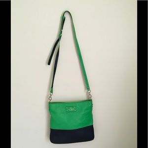 Kate Spade Navy & Green Leather Cross body bag