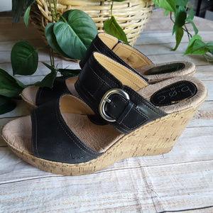 BOC Born Concept Lizandra Black Cork Wedge Sandals