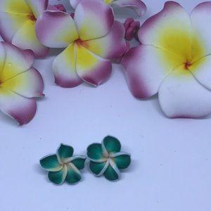 Jewelry - GREEN FLOWER STUDS (HANDMADE)