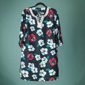 NWT Talbots Medium Floral Linen Tunic Dress