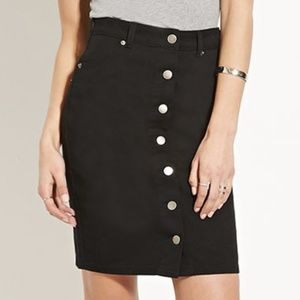Black Button Up Jean Skirt