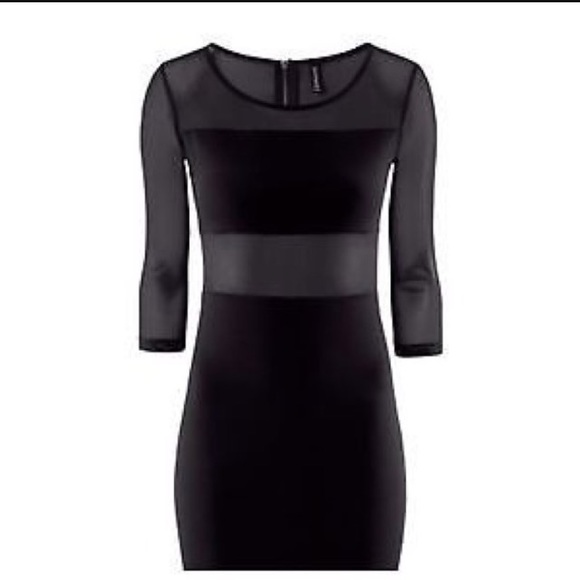 Divided Dresses Hm Black Bodycon Dress With Sheer Mesh Panels