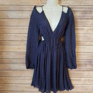 Intimately Free People Blue Cut Out Peasant Dress