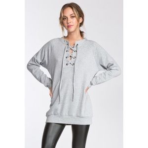 Lace Up Front Sweatshirt