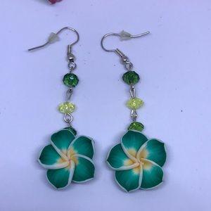 Jewelry - GREEN FLOWER DANGLE EARRINGS (HANDMADE)